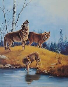 Wolf Print Three Wolves