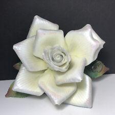 Roman Porcelain Flower figurine sculpture vintage statue white rose capodimonte