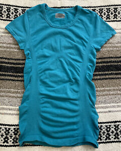 ATHLETA Beautiful Bright Teal Textured Athletic Shirt Top Size XS