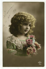 c 1914 Cute Child Children PRETTY LITTLE GIRL tinted photo postcard