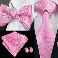 USA Pink Paisley Tie Bowtie Set Silk Mens Adjustable Tuxedo Pretied Wedding