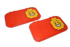 "(2) LEGO MiniFigure RED Storage Case Box Display NEW 11"" x 6"" Plastic FAST SHIP"