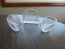 3 Pc Princess House Crystal  Highlights  Fork, Spoon & Napkin Holders