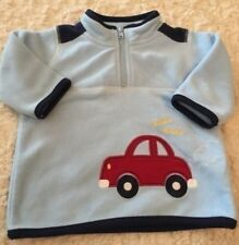 Just One Year Boys Light Blue Fleece Long Sleeve Pullover Red Car 3 Months