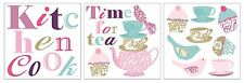 KITCHEN COOK Wall Decals Tea Time Cupcake Room Decor Stickers Kids Party NEW