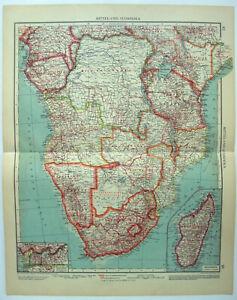 Central & Southern Africa - Original 1937 Map by Velhagen & Klasing. Rhodesia