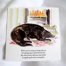 "KD4 ""KATZNDOGZ!"" ""when you are old"" HUMOUR WATERCOLOUR DEAR DOG; FIRESIDE; FUN"
