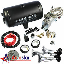 Loud Triple Trumpet Air Horn Kit With 98c 1 Gallon Best Buy For Car Truck RV New