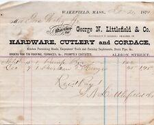 Vintage 1874 George N. Littlefield & Co Hand Signed Letterhead - Wakefield Mass