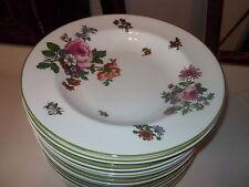 """16 ROYAL DOULTON """"Boston"""" 9"""" Rimmed Soup Bowls - Multimotif Floral, Green Trim"""