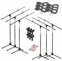 Microphone Boom Stand 6 PACK - GRIFFIN Telescoping Mic Stage XLR Cable DJ Studio