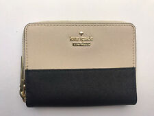 kate spade New York Small Zip Around Wallet Black And Beige With Gift Box