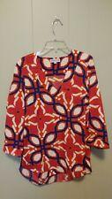 Buckhead betties cantina walker v neck top size M pink/orange/navy/white