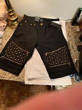 Blue Stitch Denim Jean Shorts Size 30 Waist Black Studded Skateboard Hip Hop Nwt