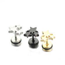 Star Silver Black/Yellow Gold GP Surgical Stainless Steel Stud Earrings Gift