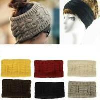 2019 Women Cap Beanie Tail Messy High Bun Ponytail Knitted Beanie Winter Hat