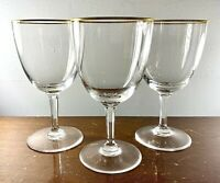 3PC VTG Val St. Lambert Signed Crystal Glamour Gold Water Goblets / Glasses 6.5""