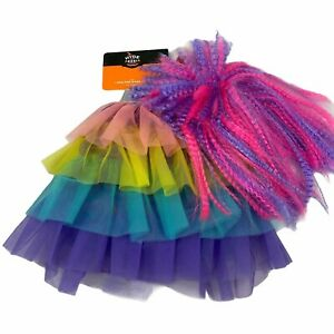 80's Pop Star Neon Crimped Wig & Tulle Skirt Halloween Dog Pet Costume XS to XL