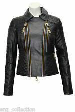 Ladies Fashion Black Biker Gold Zip Quilt Padded Soft Real Leather Jacket