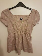 H&M - Ladies Womens Girls Light Pink & White Cap Sleeved Floral Top Size 8