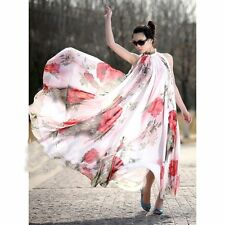 US Women Vintage Boho Floral Chiffon Long Maxi Evening Prom Dress Beach Sundress