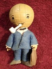 Look ! - Vintage ca 1960-s Pipe Smoking Earth Globe Rubber Toy Mascot
