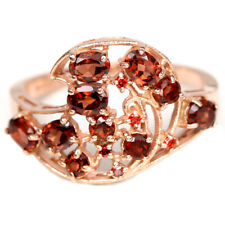 NATURAL AAA DARK ORANGE RED GARNET OVAL & ROUND STERLING 925 SILVER RING SIZE 8