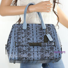 NWT Coach Exotic Leather Swagger Frame Satchel Shoulder Bag 37585 Blue NEW RARE