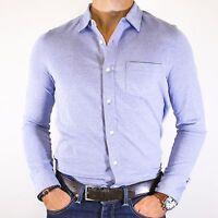 NWT Tommy Hilfiger Men's Stretch Blue Slim Fit Cotton Woven Dress Shirt Size M