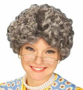 YO MOMMA Old Lady WIG Curly Adult Costume Gray Claus Madea Granny Grandma Mama