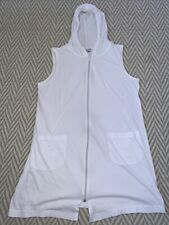 Womens Coverup Dress White Large Cotton Stretch Material Zipper Hoodie Pockets