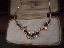 Vintage Montana Blue & Clear  Navette Crystal  Pendant Necklace with Gold Chain