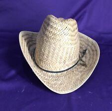 Vintage Straw Cowboy Hat Men Women Brown 21.5