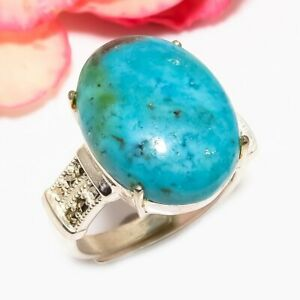 Turquoise & Marcasite Designer Handmade 925 Sterling Silver Ring s.Ad F2514