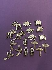 Tibetan Silver Lot Camping Charms 18 pieces for Crafts and Jewelry DIY