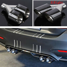 1x Carbon Fiber Car Exhaust Muffler Tip Dual-Pipes In-63mm/Out-89mm Glossy Right