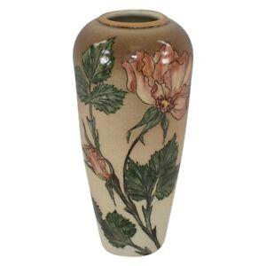 Santa Barbara Ceramic Design Pottery 1982 Pink Floral Vase (Artist Signed)
