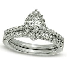 Set In 10K White Gold 1.12 ct Marquise Diamond Frame Bridal