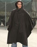 New Plain Black Waterproof Hooded Ripstop US Army Poncho
