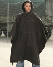 New Plain Black Waterproof Hooded Ripstop US Army Poncho