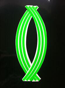9mm wheel rim tape striping stripes stickers FLUORESCENT green .(38 piece 9 p/w)