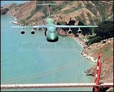 USAF Camouflaged C-5 Galaxy 22nd MAS San Francisco Bridge 1983 8x10 Photo