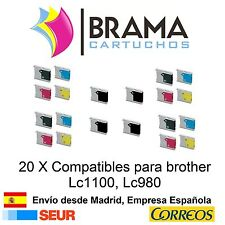 20 x compatibles Brother Non-oem para Lc980 Lc1100 MFC5890CN MFC6490CW  Lc1100C