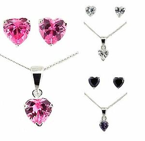 Toc Sterling Silver 925 Heart Shape Cz Pendant and Earrings Gift Set for Her