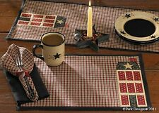 HOME PLACE SALTBOX HOUSES RED BLACK PLAID PLACEMATS ~ SET OF 2 ~ PARK DESIGNS