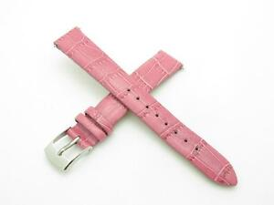 High Quality Genuine Pink Leather 14mm Size Watch Band With Pins Included