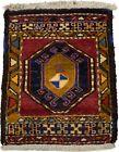 Handmade Vintage Tribal Design Red 1'7X2'0 Oriental Rug Small Farmhouse Carpet