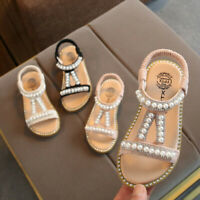 Toddler Kids Girls Children Pearl Crystal Single Princess Roman Shoes Sandals