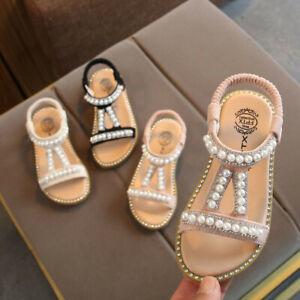 Toddler Kids Girls Children Pearl Crystal Single Princess Roman Shoes Sandals