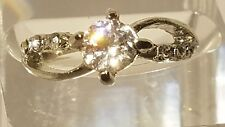 Fashion Solitaire Engagement Ring Silver Plated 18K INFINITUM Style Sizes 5-8.75